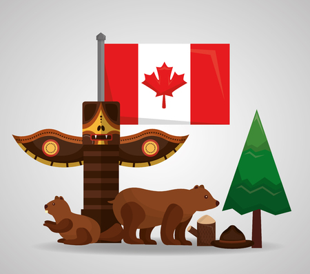 canada totem bear beaver forest pine flag vector illustration