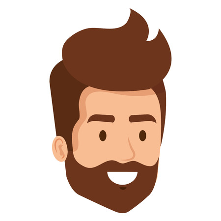 young man with beard hipster style head avatar character vector illustration