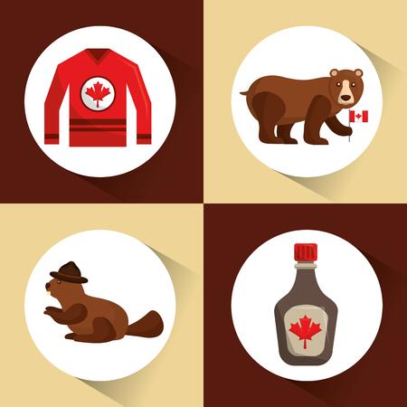 Canadá colección bear beaver jersey y jarabe de arce ilustración vectorial Foto de archivo - 98584355
