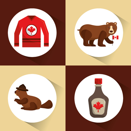canada collection bear beaver jersey and maple syrup vector illustration Illustration