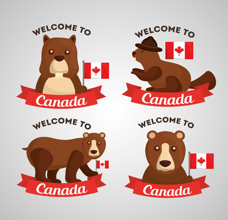 welcome to canada grizzly bear and bear flag canadian labels vector illustration Illustration