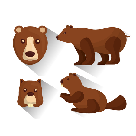 grizzly bear and beaver animals wildlife vector illustration
