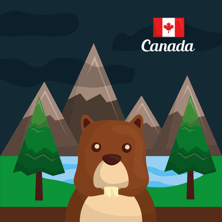 canada beaver rodent in the forest mountains vector illustration Illustration