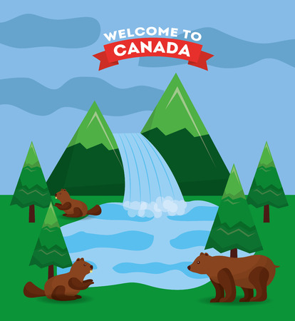 canada forest mountains waterfall lake bear and beaver vector illustration Illustration