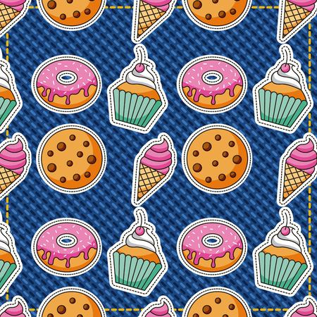patches dessert food pattern cookies ice cream donut vector illustration