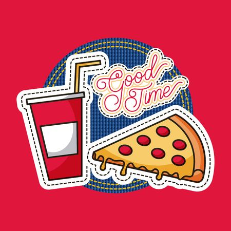 patches fast food cool time pizza and soda vector illustration