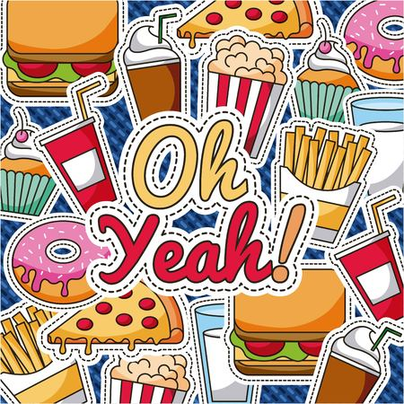 patches fast food dessert oh yeah retro pattern vector illustration