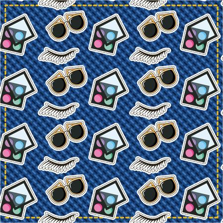 patches sunglasses eyebrow and makeup pattern vector illustration Illustration