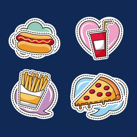 patches fast food pizza french fries hotdog vector illustration