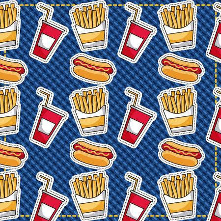 patches fast food french fries hotdog and sodas vector illustration