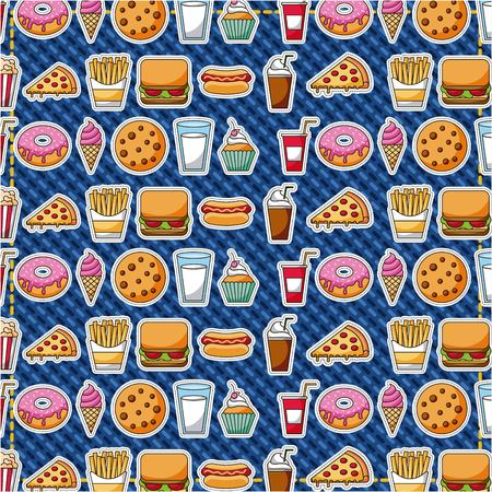 patches fast food sweet pastry pattern vector illustration