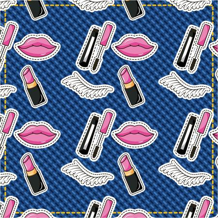 patches cute female mascara lpis eyebrow lipstick pattern vector illustration Stock Vector - 98584700