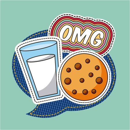 patches omg milk cookie food speech bubble vector illustration Illustration