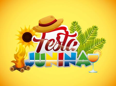 colored festa junina text wicker hat bonfire cocktail vector illustration