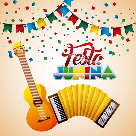 festa junina music guitar accordion pennant confetti vector illustration Illustration
