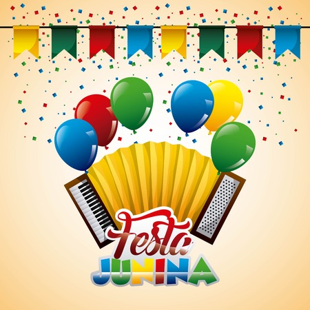 accordion music culture balloons pennant celebration festa junina vector illustration