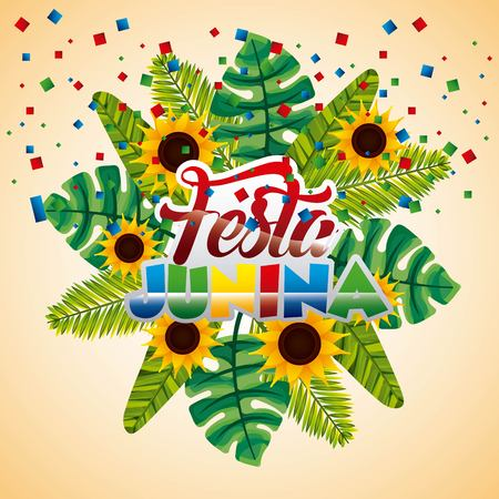 festa junina brazil party traditional tropical leaves palm flowers vector illustration Illustration