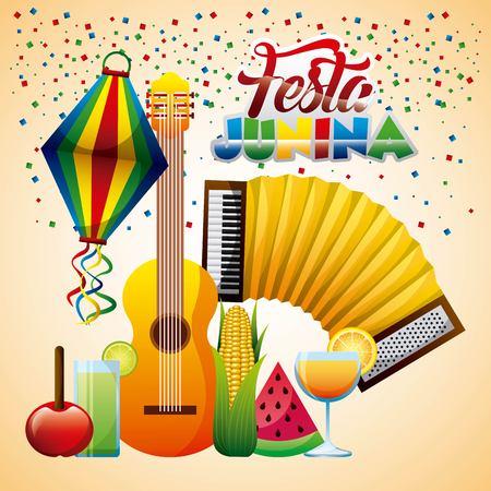 festa junina accodion guitar cocktail tropical fruit confetti celebration vector illustration Illustration