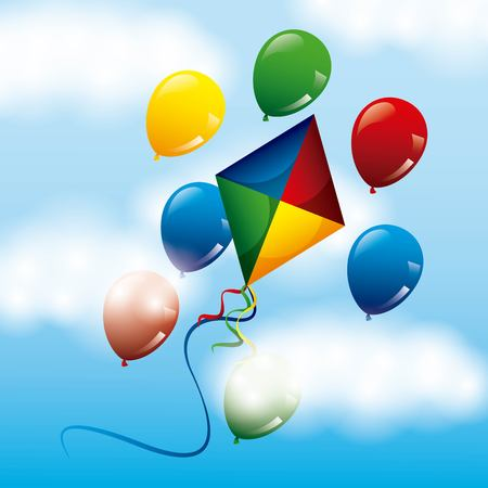 colored bright kite and balloons flying in the sky vector illustration