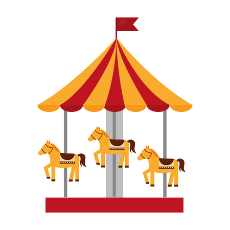 Carousel carnival with horses vector illustration design. Illustration