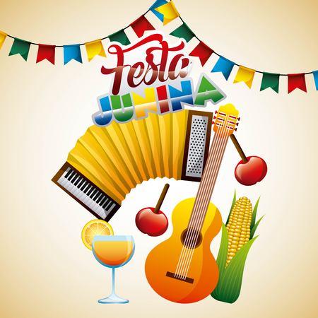 Brazilian celebration festive festa junina poster vector illustration