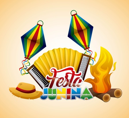 Festa junina accordion hat bonfire traditional festival vector illustration
