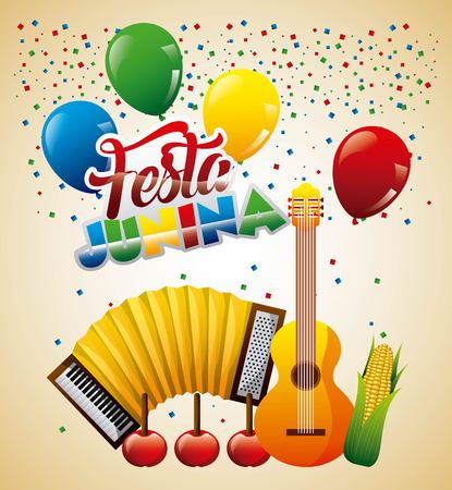 Festa junina greeting card music apples and cob corn vector illustration