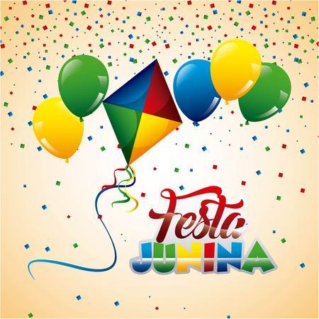 Festa junina kite balloons flying confetti decoration vector illustration