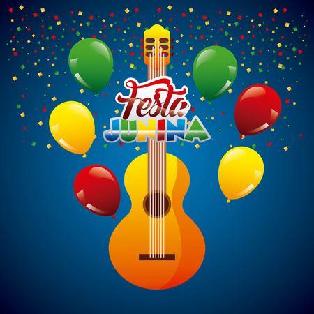 Festa junina gitar confetti garland on blue background vector illustration. Illustration