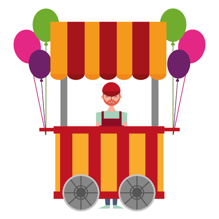 Circus pumps air shop with salesman vector illustration design. Ilustrace