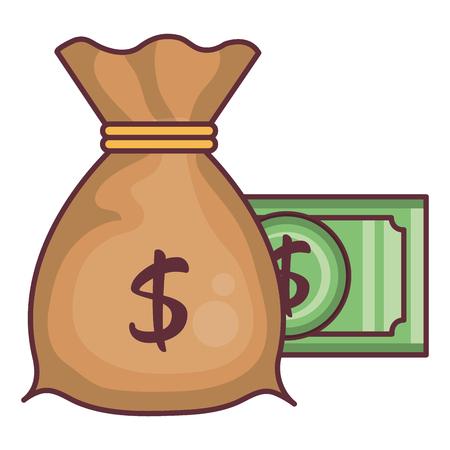 Money bag with dollar vector illustration design