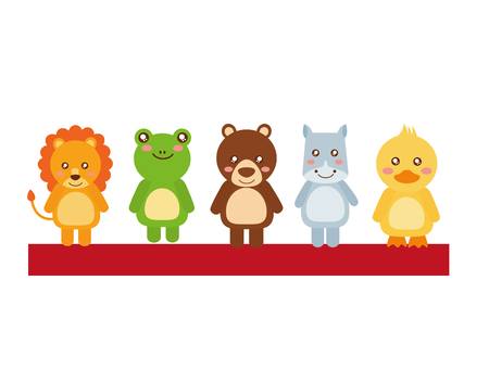 Cute little animals in shelf vector illustration design.