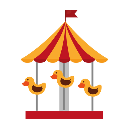 Carousel carnival with ducks vector illustration design.