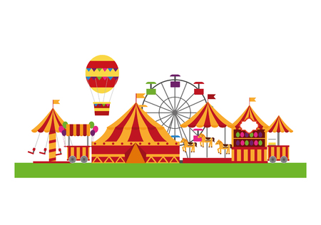 Circus fair scene icons vector illustration design