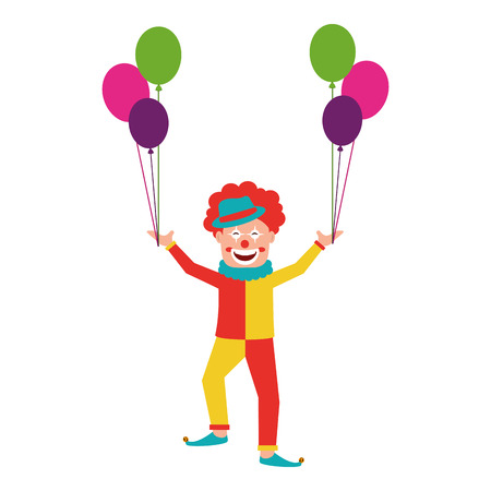 Circus clown with balloons air vector illustration design Illustration