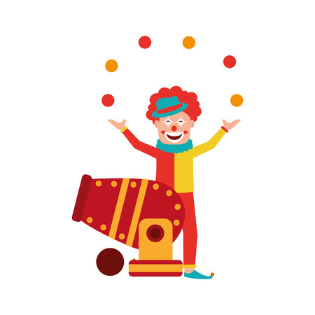 Circus clown doing juggling with balls with cannon vector illustration design