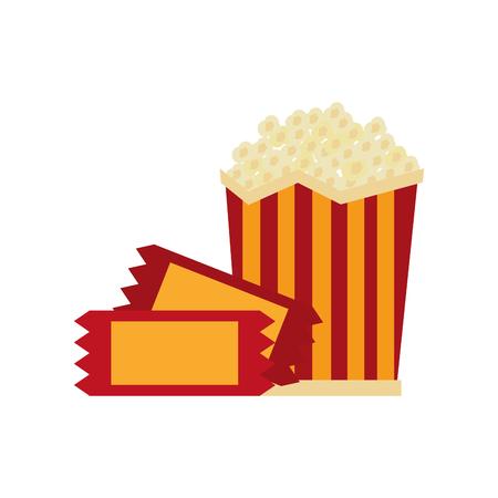 Pop corn with tickets vector illustration design