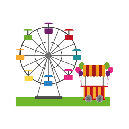 Circus pumps air shop with panoramic wheel vector illustration design.