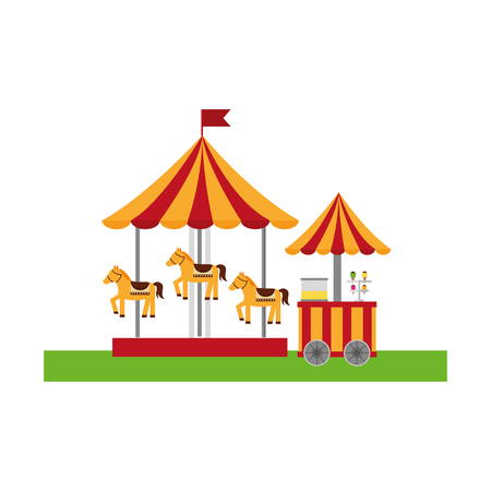 carousel carnival with ice cream shop vector illustration design