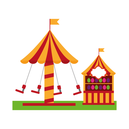 Carousel carnival with target pumps kiosk vector illustration design.