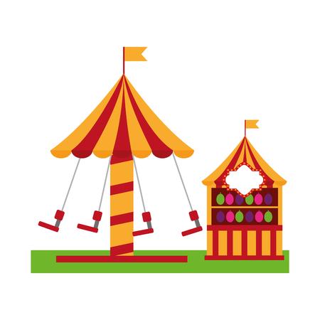 Carousel carnival with target pumps kiosk vector illustration design.