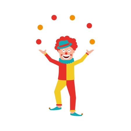 Circus clown doing juggling with balls vector illustration design