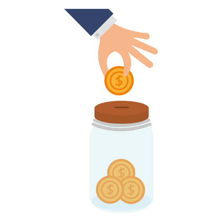 Hand with coin insert in jar vector illustration design
