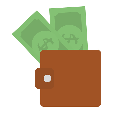 Wallet with bills money isolated icon vector illustration design