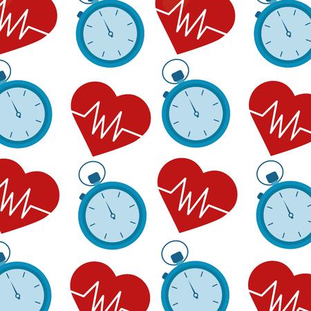 Heart cardio with chronometer pattern vector illustration design.