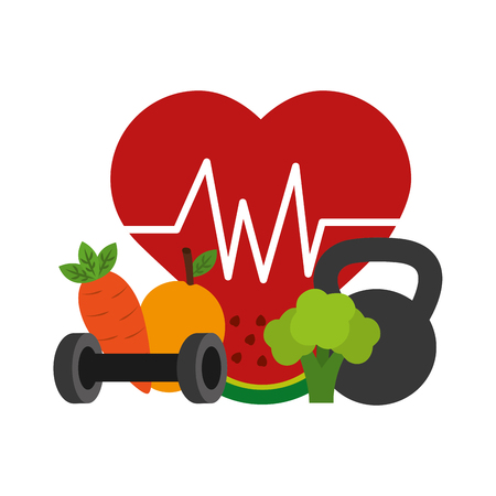 Heart cardio with fruits vector illustration design. Иллюстрация