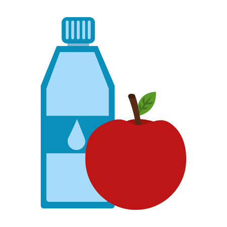 Pure water bottle with apple vector illustration design.
