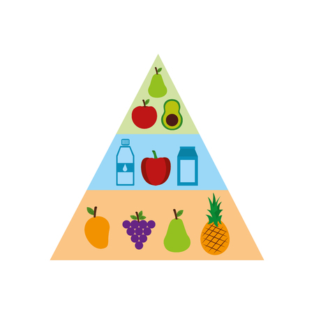 Healthy food nutritional pyramid vector illustration design Ilustração