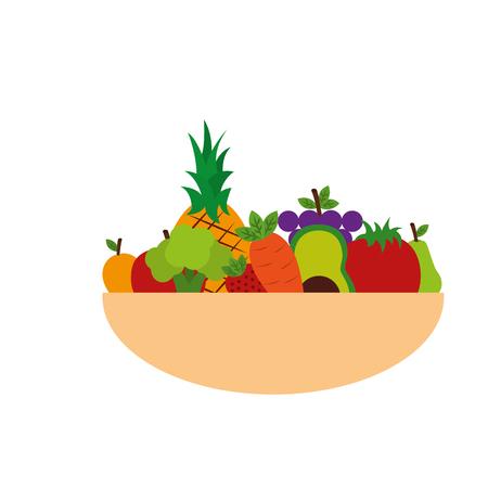 Fruits and vegetables in bowl vector illustration design.