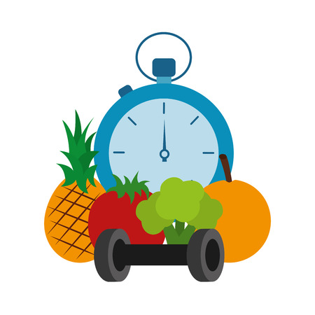 Chronometer timer with fruits and weight lifting vector illustration design